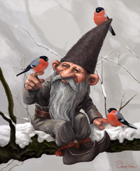 Tomte with Birds